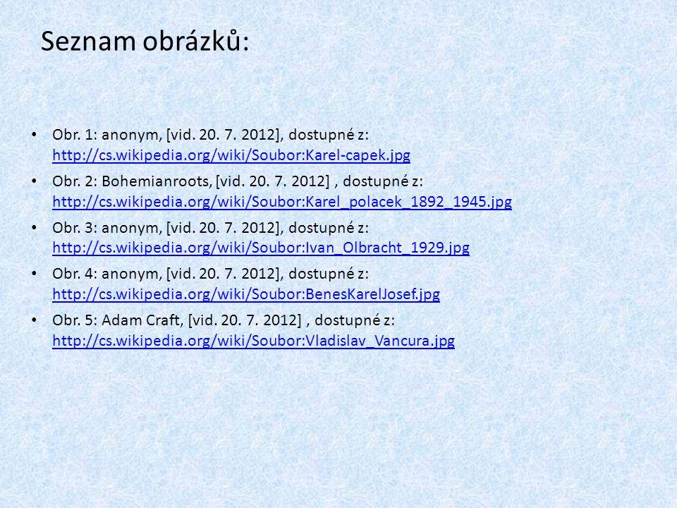 Seznam obrázků: Obr. 1: anonym, [vid. 20. 7. 2012], dostupné z: http://cs.wikipedia.org/wiki/Soubor:Karel-capek.jpg.